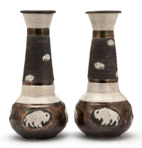 THE COLLECTION OF PAUL GREGORY AND JANET GAYNOR  TWO TALL GLAZED STONEWARE VASES WITH BUFFALO DESIGNS </