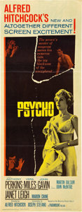"Movie Posters:Hitchcock, Psycho (Paramount, 1960). Insert (14"" X 36"").. ..."