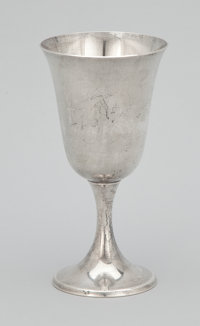 A SET OF SIX AMERICAN SILVER GOBLETS Gorham Manufacturing Co., Providence, Rhode Island, circa 1960 Marks: