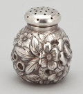 Silver Holloware, American:Other , AN AMERICAN SILVER REPOUSSÉ SALT SHAKER . George W. Shiebler &Co., New York, New York, circa 1891-1910 . Marks: (wing-S-win...