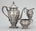 Silver Flatware, American:Dominick & Haff, AN AMERICAN SILVER THREE-PIECE COFFEE SERVICE . Dominick &Haff, New York, New York, circa 1890 . Marks:(rectangle-circle-d... (Total: 3 Items)