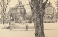 Mainstream Illustration, PAUL CALLE (American, b. 1928). Victorian Houses. Pencil onpaper. 19.25 x 30 in.. Signed lower right. From the Esta...