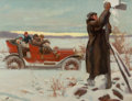 Mainstream Illustration, CHARLES CHASE EMERSON (American, 1874-1922). Finding the WayHome. Oil on canvas board. 16 x 20.5 in.. Signed lower left...