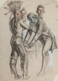 Paintings, DEAN CORNWELL (American, 1892-1960). Establishing Territory. Pastel and charcoal pencil on paper. 23.5 x 17 in.. Initial...