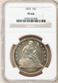 Proof Seated Dollars: , 1870 $1 PR64 NGC. NGC Census: (46/29). PCGS Population (52/20).Mintage: 1,000. Numismedia Wsl. Price for problem free NGC/...