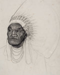 Fine Art - Work on Paper:Drawing, FROM THE ESTATE OF CHARLES MARTIGNETTE.. AMERICAN ARTIST (20thCentury). Portrait of an Indian. Pencil on paper . ...