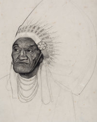 FROM THE ESTATE OF CHARLES MARTIGNETTE.  AMERICAN ARTIST (20th Century) Portrait of an Indian<