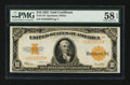 Large Size:Gold Certificates, Fr. 1173 $10 1922 Gold Certificate PMG Choice About Unc 58 EPQ.....