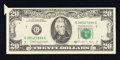 Error Notes:Foldovers, Fr. 2076-G $20 1988A Federal Reserve Note. Very Fine.. ...