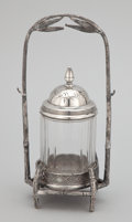 Silver Holloware, American:Other , AN AMERICAN SILVER PLATE CADDY AND GLASS JAR WITH LID . James W.Tufts, Boston, Massachusetts, circa 1850 . Marks: JAMES W...(Total: 3 Items)