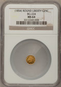 California Fractional Gold: , Undated 25C Liberty Round 25 Cents, BG-224, R.3, MS64 NGC. NGCCensus: (6/0). PCGS Population (26/1). (#10409)...