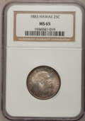 Coins of Hawaii: , 1883 25C Hawaii Quarter MS65 NGC. NGC Census: (135/103). PCGSPopulation (163/106). Mintage: 500,000. (#10987)...