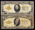 Small Size:Gold Certificates, $10 and $20 1928 Gold Certificates.. ... (Total: 2 notes)