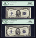 Small Size:Silver Certificates, Wide I/Narrow Changeover Pair. Fr. 1654/1654 $5 1934D Silver Certificates. PCGS Superb Gem New 67PPQ/PCGS Gem New 66PPQ.. ... (Total: 2 notes)