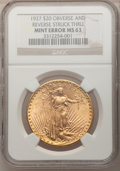 Errors, 1927 $20 Double Eagle--Obverse and Reverse Struck Thru--MS63 NGC....