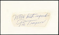 Baseball Collectibles:Others, Pie Traynor Signed Cut Signature. ...
