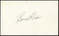 Baseball Collectibles:Others, Sam Rice Signed Index Card. ...