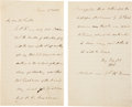 "Autographs:Statesmen, William English Autograph Letter Signed ""W.H.E.""...."