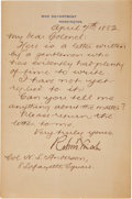 Autographs:Statesmen, Robert Todd Lincoln Letter Signed as Secretary of War. ...