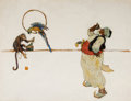 Paintings, Attributed to DEAN CORNWELL (American, 1892-1960). Arab Monkey and Parrot. Oil on board. 17.5 x 23.5 in.. Not signed. ...