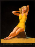 Pin-up and Glamour Art, EARL MORAN (American, 1893-1984). Blonde Pin-Up in Yellow,calendar illustration. Pastel on board. 40 x 30 in.. Signedl...