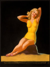 EARL MORAN (American, 1893-1984) Blonde Pin-Up in Yellow, calendar illustration Pastel on board 4