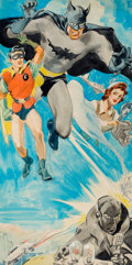 Pulp, Pulp-like, Digests, and Paperback Art, GLENN CRAVATH (American, 1897-1964). Batman and Robin, two movieposter illustrations. Watercolor on paper on board. 15 ...