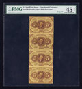 Fractional Currency:First Issue, Fr. 1230 5¢ First Issue Uncut Vertical Strip of Four PMG ChoiceExtremely Fine 45 Net.. ...
