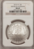 Modern Issues, 2010-W $1 Disabled Veterans MS69 NGC. PCGS Population (1223/1258).(#417753)...