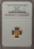 California Fractional Gold: , 1876/5 50C Indian Round 50 Cents, BG-1059, R.4, MS61 NGC. NGCCensus: (2/3). PCGS Population (14/54). (#10888)...