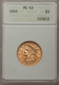 1893 $5 MS63 ANACS. NGC Census: (1500/549). PCGS Population (690/204). Mintage: 1,528,197. Numismedia Wsl. Price for pro...
