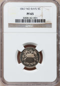 Proof Shield Nickels, 1867 5C No Rays PR65 NGC....