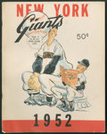Baseball Collectibles:Publications, 1952 and 1965 Giants Yearbooks Lot of 2, with Willie Mays SignedCut....