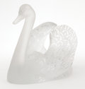 Art Glass:Lalique, A FRENCH GLASS AND FROSTED GLASS SWAN . Lalique, Paris, France,post 1945. Marks: Lalique France. 9-1/2 x 12 x 7 inches...