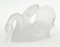 Art Glass:Lalique, A FRENCH GLASS AND FROSTED GLASS SWAN . Lalique, Paris, French,post 1945. Marks: Lalique France. 6-3/4 x 14 x 8-1/2 inc...