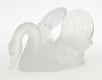 A FRENCH GLASS AND FROSTED GLASS SWAN Lalique, Paris, French, post 1945 Marks: Lalique France 6-