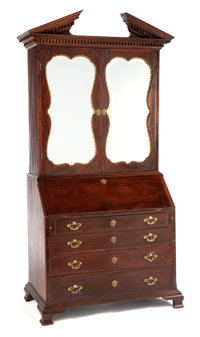 A GEORGE II MAHOGANY, BRASS AND MIRRORED SECRETARY CABINET Probably London, England, circa 1750 Unmarked 91