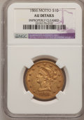 Liberty Eagles, 1866 $10 --Improperly Cleaned--NGC Details. AU....