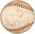 Autographs:Baseballs, 1940 Cy Young Single Signed Baseball....