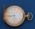 Timepieces:Pocket (post 1900), Burlington 19 Jewel Fancy 14k Gold 16 Size Hunters Case Pocket Watch. ...