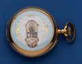 Timepieces:Pocket (post 1900), Swiss 50 mm 14k Gold Digital Dial Pocket Watch. ...