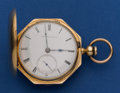 Timepieces:Pocket (pre 1900) , New York Watch Co. 15 Jewel Movement 18 Size 18k Gold Multi-EdgeHunter's Case Frederick Billings . ...