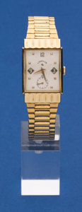 Timepieces:Wristwatch, Lord Elgin Unusual Gold Filled Rectangular Wristwatch. ...