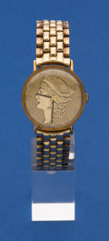 Timepieces:Wristwatch, Lucien Piccard 14k Gold Coin Style Wristwatch With Metal Band. ...