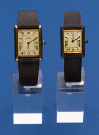 Two Cartier Gold On Sterling Tank Watches For Restoration