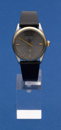 Timepieces:Wristwatch, Rolex Ref. 1002, Steel & Gold Gent's Oyster Perpetual Air King Wristwatch. ...