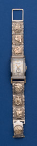 Timepieces:Wristwatch, Gruen White Gold Filled Curvex With Sterling Band. ...