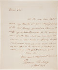 "Autographs:Statesmen, Thomas Pinckney Autograph Letter Signed as U.S. Ambassador to GreatBritain. Two and one-quarter pages, 7.5""x 9"", n.p., Apri..."