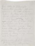 "Autographs:Military Figures, George McClellan Civil War Dated Autograph Letter Signed to HisWife. One page, in pencil on lined scrap of paper, 4.75""..."