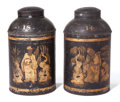 "Asian:Chinese, The Collection of Paul Gregory and Janet Gaynor. TWO LARGETIN BLACK AND GILT ""CHINOISERIE"" DECORATED COVERED TEA CANIST...(Total: 2 Items)"
